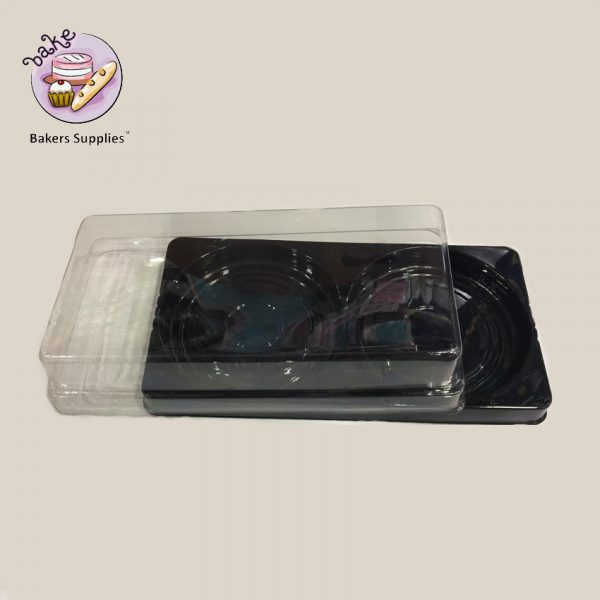 DB09 - Black Disposable Donut and Cookies Box 2 Cavity 6 pieces