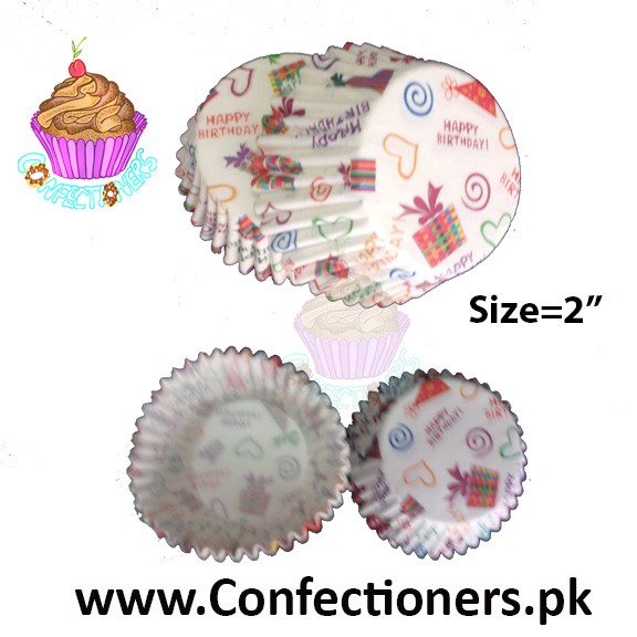 2 inch Happy Birthday Cupcake Liners 100pc