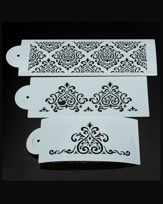 ST-52 - 3 Tier Damask Stencil Set of 3pcs
