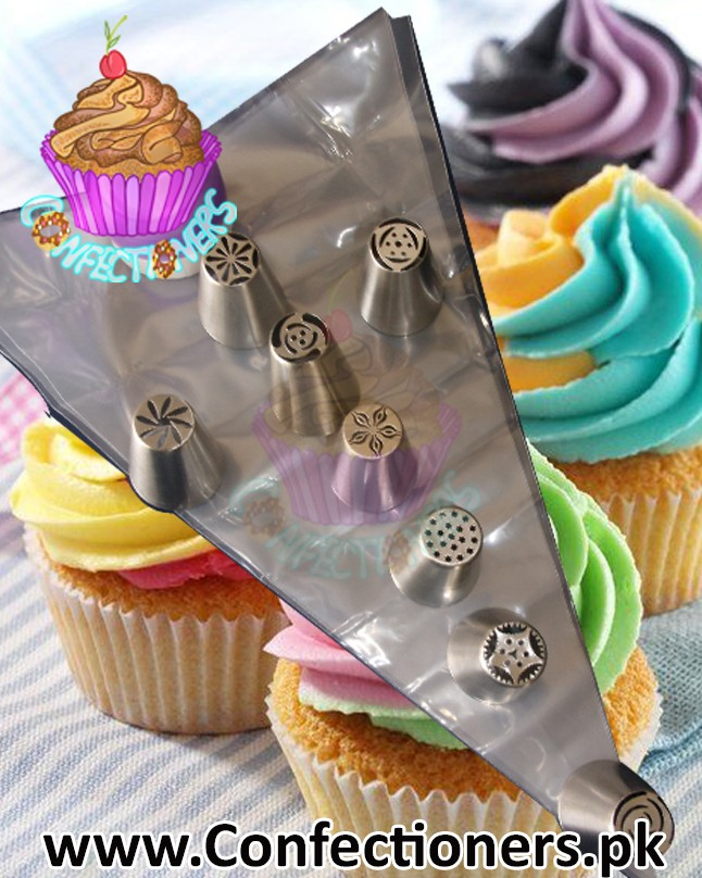 IN0063 - Russian Nozzles Icing Nozzel 8 Piece with 3 Color Coupler Set