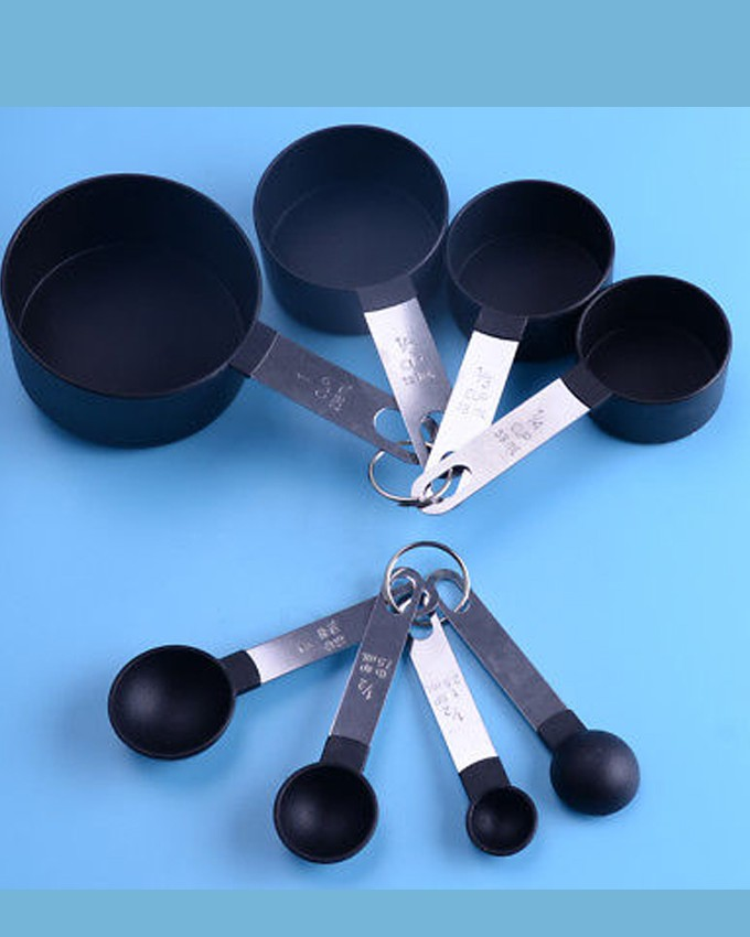 CORE KITCHEN BLACK MEASURING CUPS AND SPOON 8PCS SET