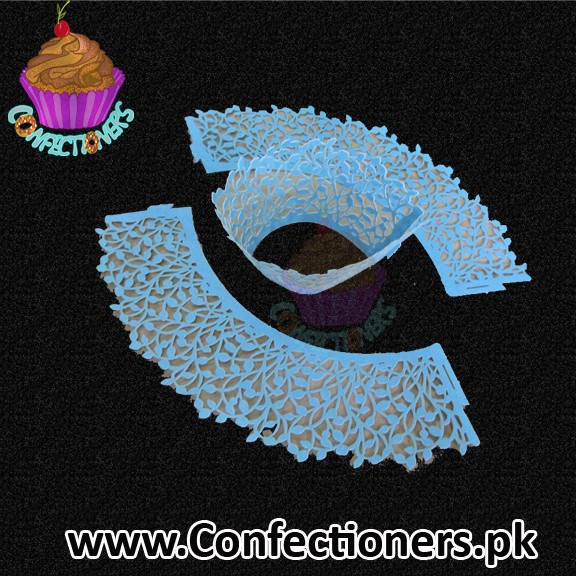 Blue leaves cupcake boarder 10 Piece