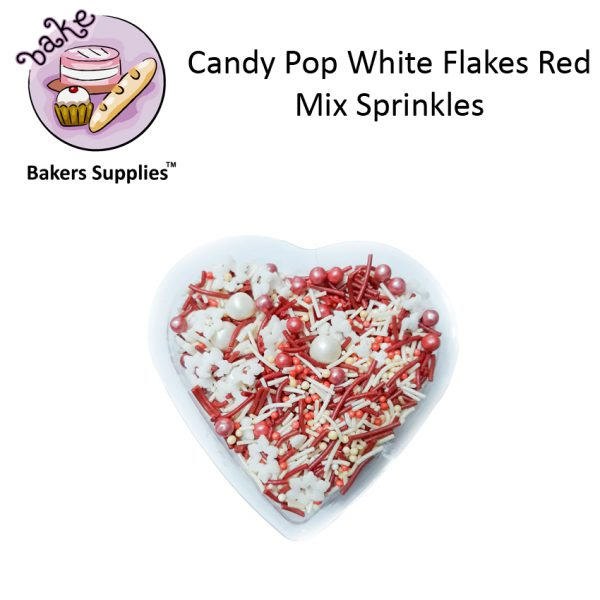 CDP02 - Candy Pop White Flakes Red Mix Sprinkles
