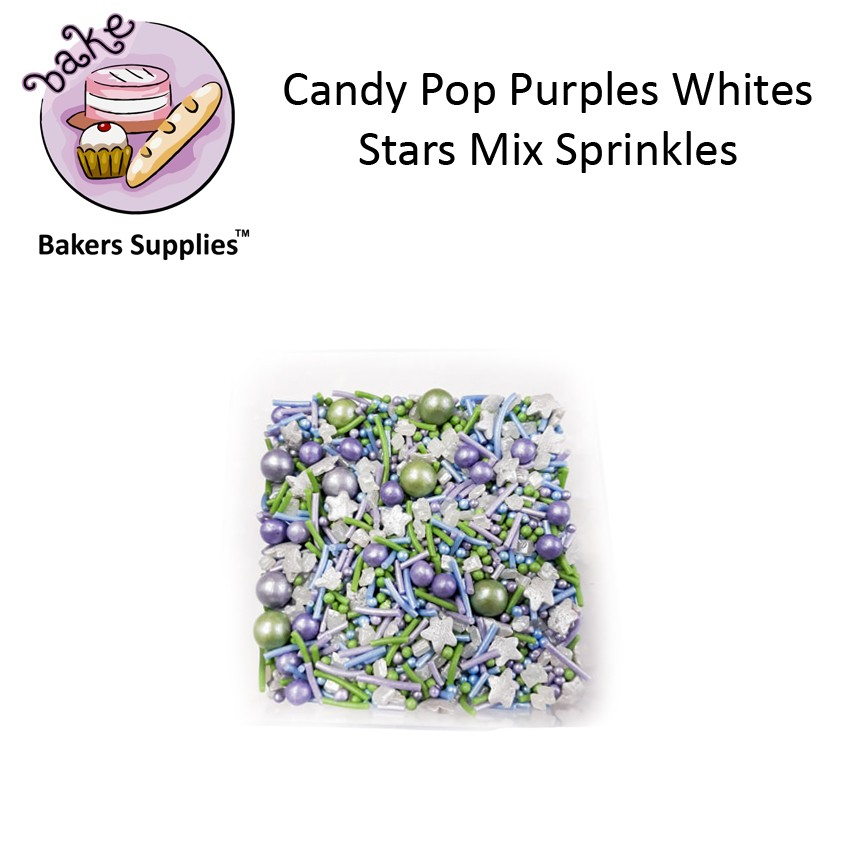 CDP07 - Candy Pop Purples Whites Stars Mix Sprinkles