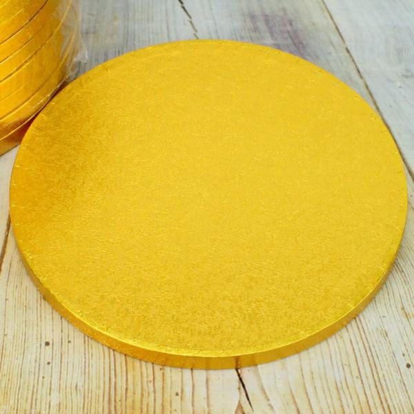 Drum Cake Boards Golden 12mm 30cm 12 inch Pack of 6
