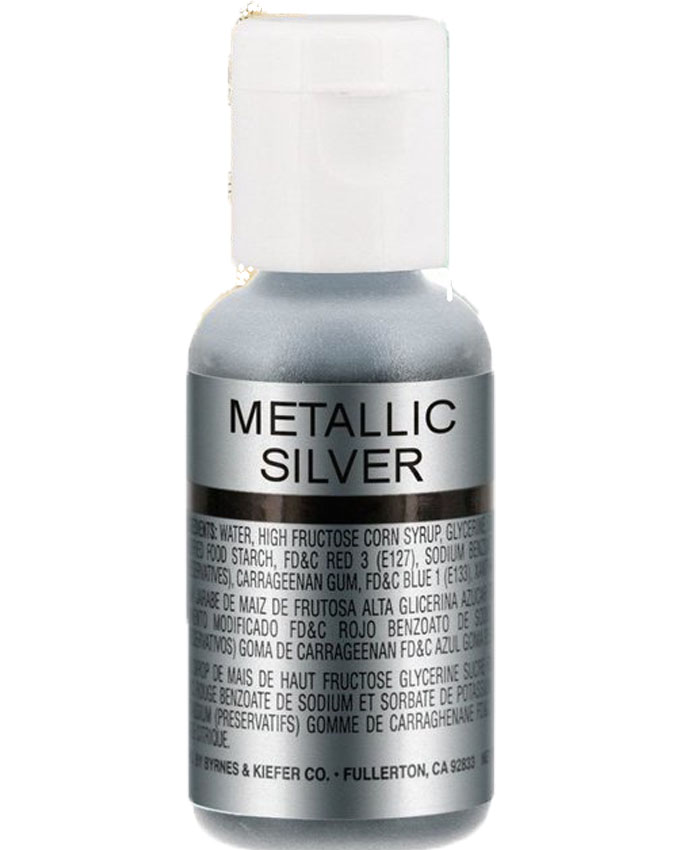 CHEFMASTER METALLIC SILVER SHEEN AIRBRUSH FOOD COLOR 0.67OZ