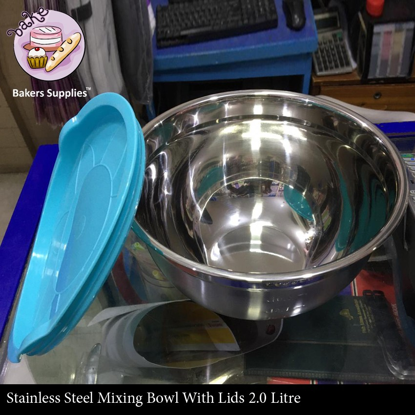 BT0082 - Stainless Steel Mixing Bowl With Lids 2.0 Litre
