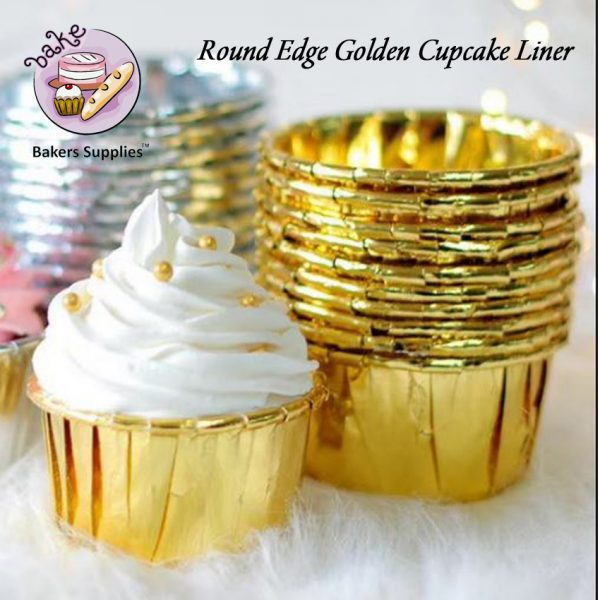 DB14 - Round Edge Golden Cupcake Liner 50 Pieces Pack