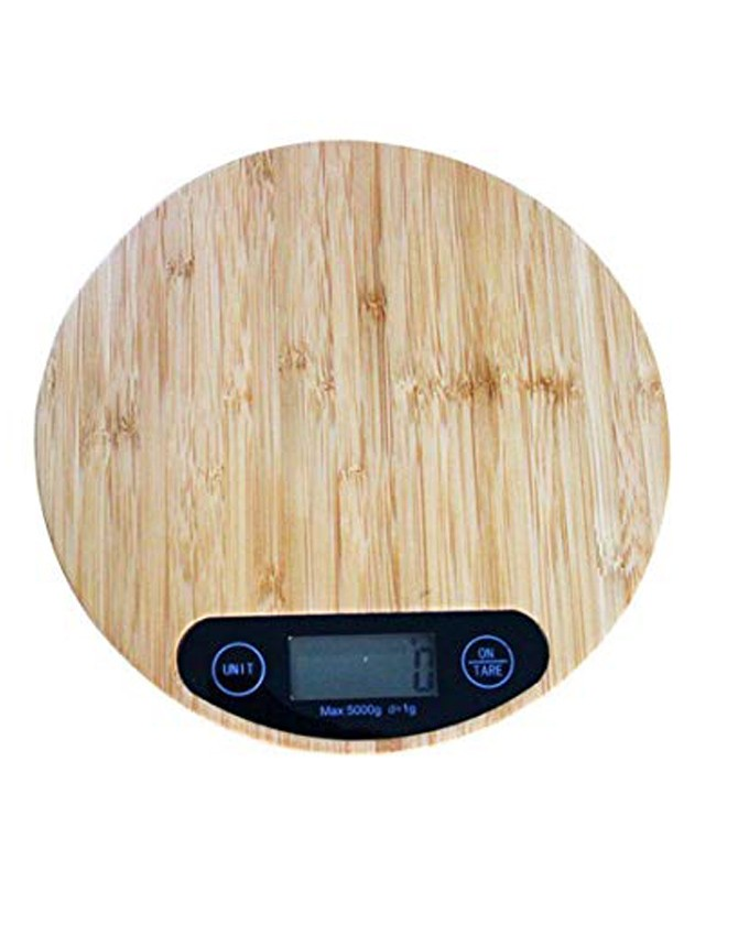 ROUND WOOD ELECTRONIC KITCHEN WEIGHING SCALE