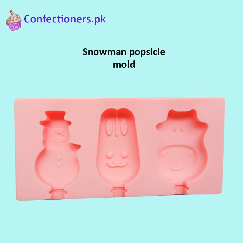 SM354 - Silicon Snowman Cakesicles Popsicles Mold 3 Cavity