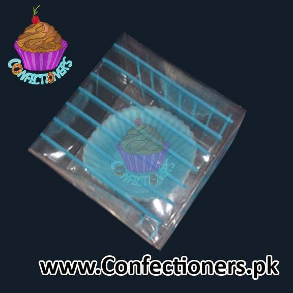 Single Serving Cupcake Box Blue Strips