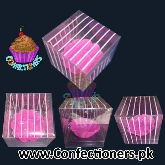 Single Serving Cupcake Box Pink Strips