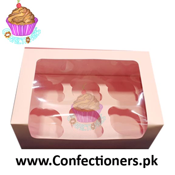Six Serving Baby Pink Cupcake Box