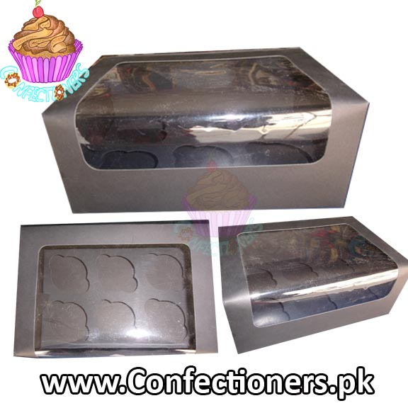 Six Serving Black Cupcake Box