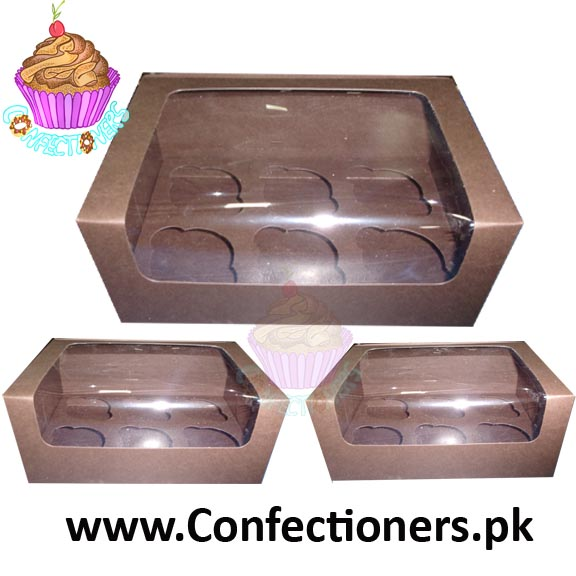 Six Serving Brown Cupcake Box