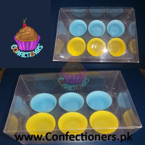 Six Serving Transparent Cupcake Box