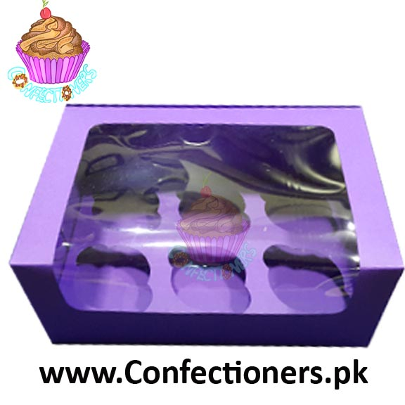 Six Serving Purple Cupcake Box