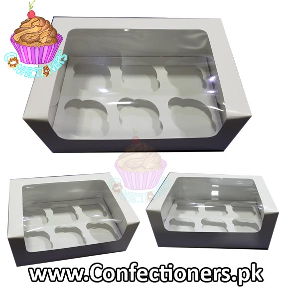 Six Serving White Cupcake Box