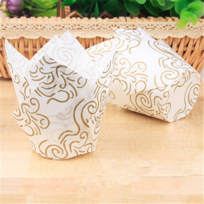 CL0029 - Golden White Tulip Liners 50pcs Pack
