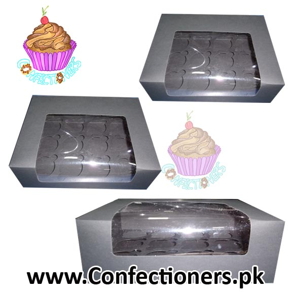 Twelve Serving Black Cupcake Box