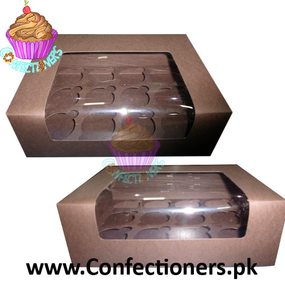 Twelve Serving Brown Cupcake Box