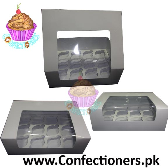 Twelve Serving White Cupcake Box