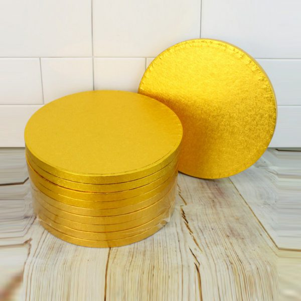 Drum Cake Boards Golden 12mm 25cm 10 inch Pack of 6