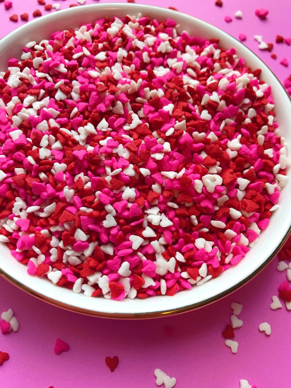 CDP014 - Mini Hearts Red White Pink Sprinkles Confetti 25gm