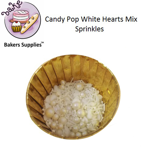 CDP01 - Candy Pop White Hearts Mix Sprinkles