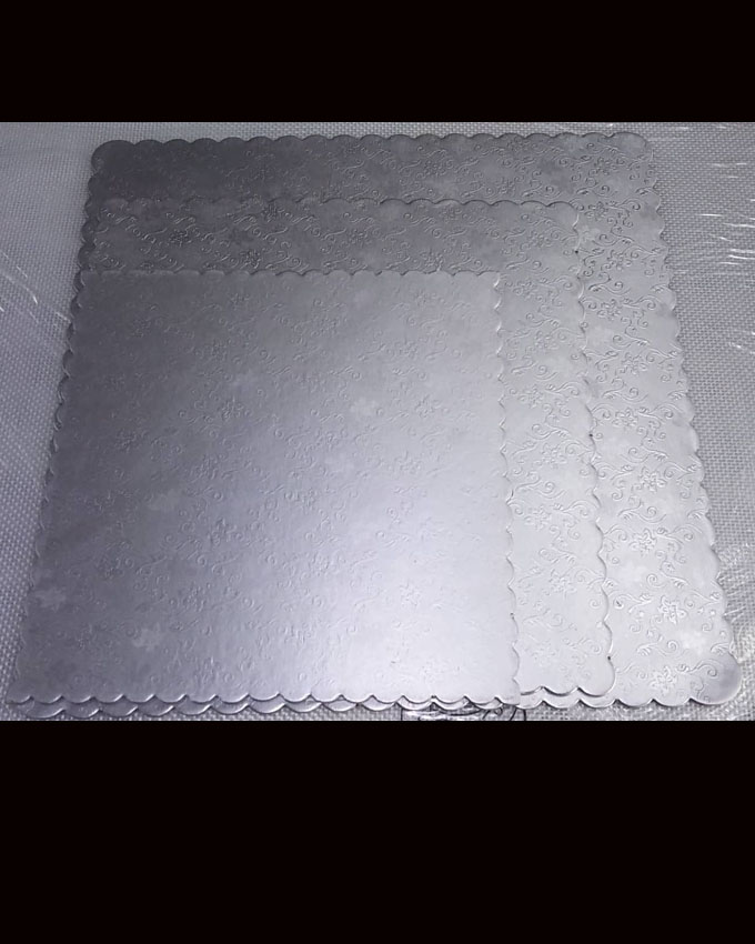 CBNB0304 - Silver Square Textured Cake Board Set 3 pieces