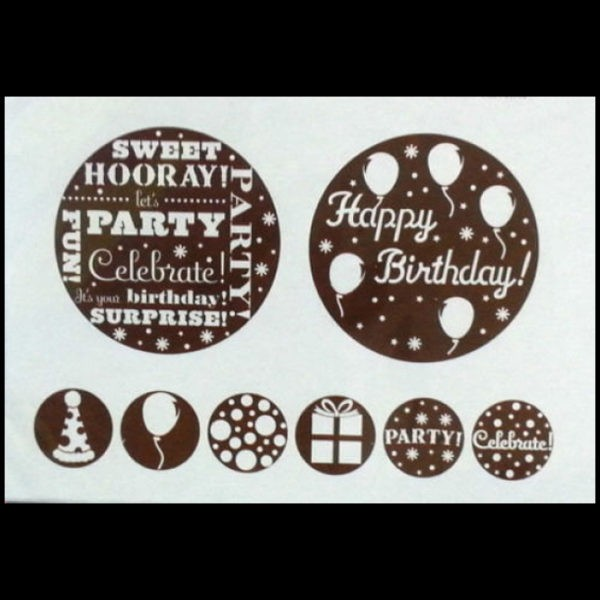 Happy birthday party dusting cake stencil
