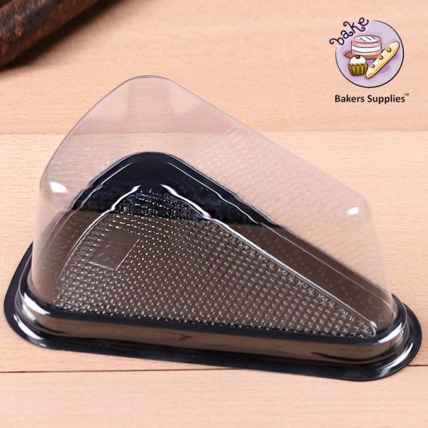 DB11 - Black Disposable Triangle Serving Cake Slice Box 6 Pieces