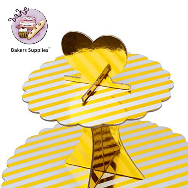 DB08 - Paper Card Cupcake Stand Golden Stripes 3 Tier