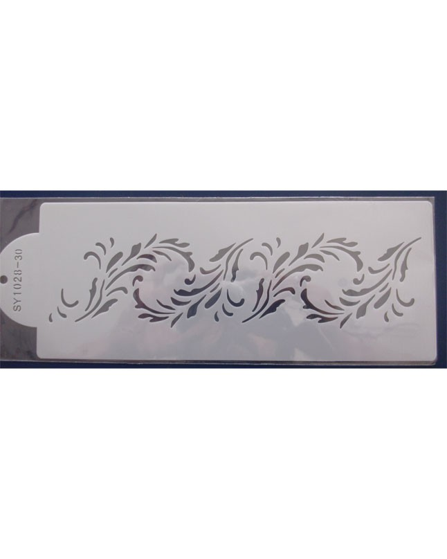 Cotton Leaves Boarder Cake Stencil