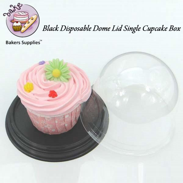 DB10 - Black Disposable Dome Lid Single Cupcake Box 50 Pieces Pack