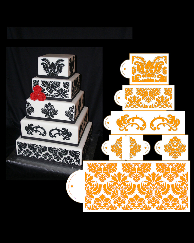 ST-353 - 5 Tier Damask Cake Stencil Set of 7pcs