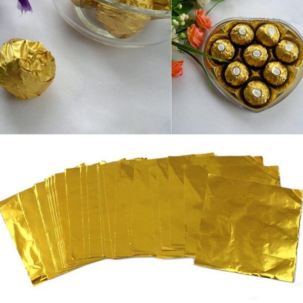 BT0051 - GOLDEN SILVER CHOCOLATE WRAPPING FOIL 100PCS