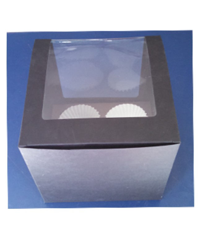 Four Serving Black Jumbo Cupcake Box