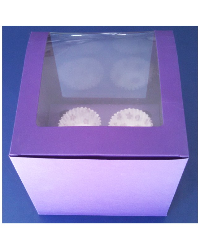 Four Serving Purple Jumbo Cupcake Box