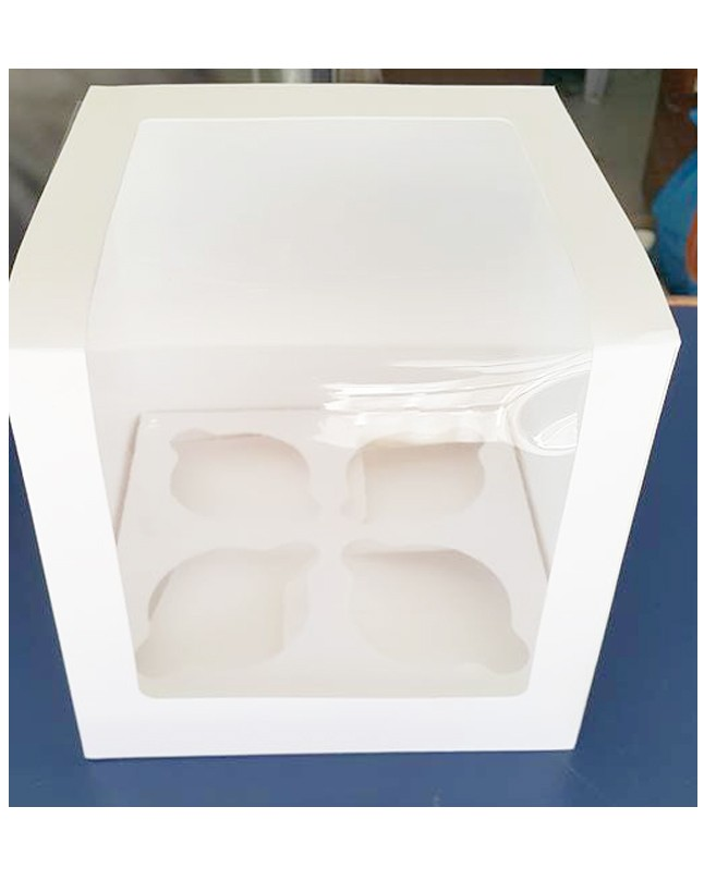 "Four Serving White Cupcake Box 6.5"" height Jumbo Cake Box"