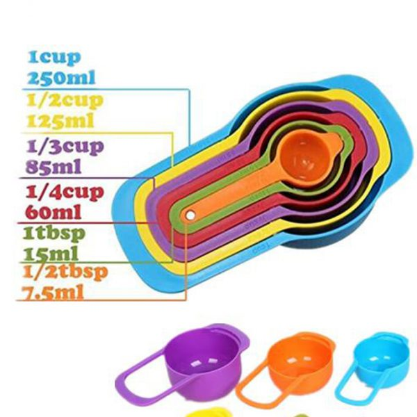 FT0022 MEASURING CUPS AND SPOONS SET (6 PCS MULTI COLOR)