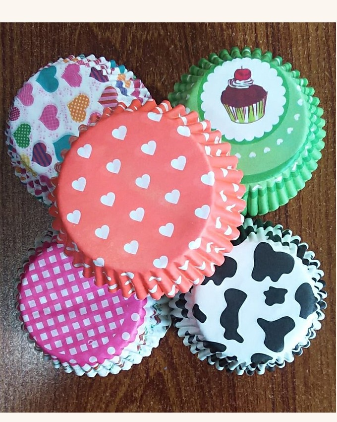 CL0003 LARGE CUPCAKE LINERS PRINTED 2 INCH BOTTOM 100PCS