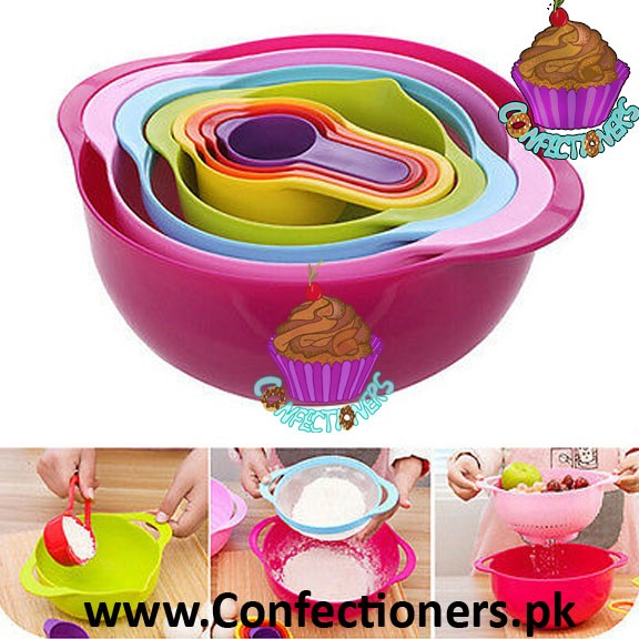 Mixing Bowls with Measuring Cups & Spoon Set