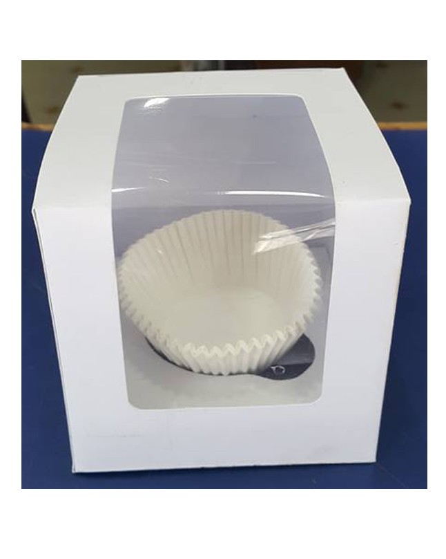 Single Serving White Cupcake Box