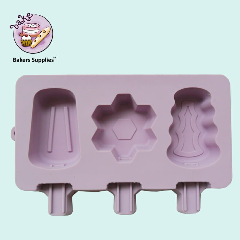 SM318 - Silicon Funky Icecream Cakesicles Popsicles Mold 3 Cavity