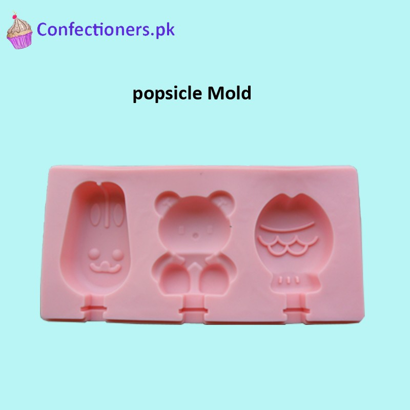 SM353 - Silicon Bear Face Cakesicles Popsicles Mold 3 Cavity